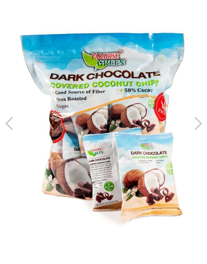 Dark Chocolate Covered Coconut Chips 14oz