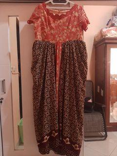 Dress panjang  brukat dan batik ukuran besar termasuk ongkir jakarta