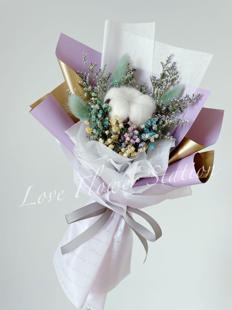 Dried Flower Bouquet/Cotton Flower Bouquet/Dried Rainbow Baby Breath Bouquet/Dried Rabbit Tail/Graduation Flower Bouquet/Birthday Flower Bouquet