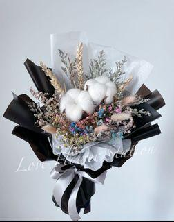 Dried Flower Bouquet/Cotton Flower Bouquet/Dried Rainbow Baby Breath Bouquet/Graduation Flower Bouquet/Birthday Flower Bouquet