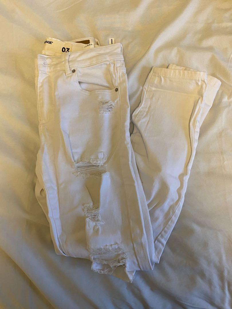 Garage ripped white jeans