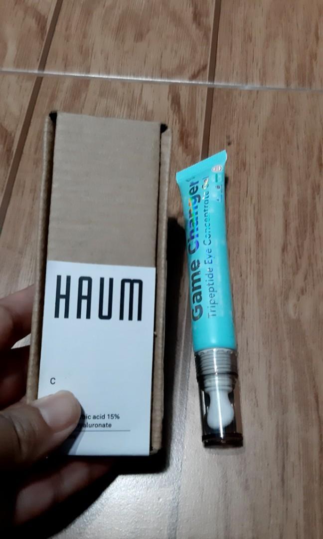 HAUM vit C serum dan Somethinc Eye Gel