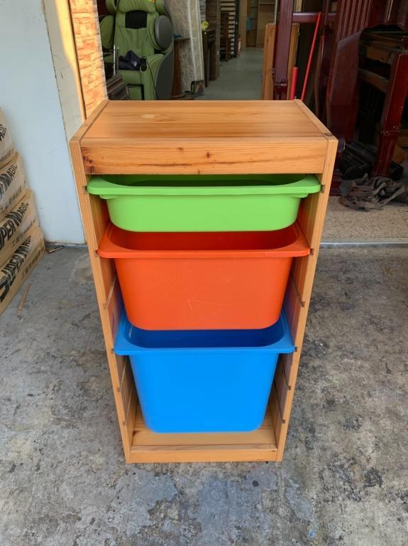 香榭二手家具*IKEA 收納組合附收納盒(松木實木框)-玩具櫃-抽屜櫃-收納櫃-置物櫃-塑膠盒-整理箱-置物箱-衣物櫃