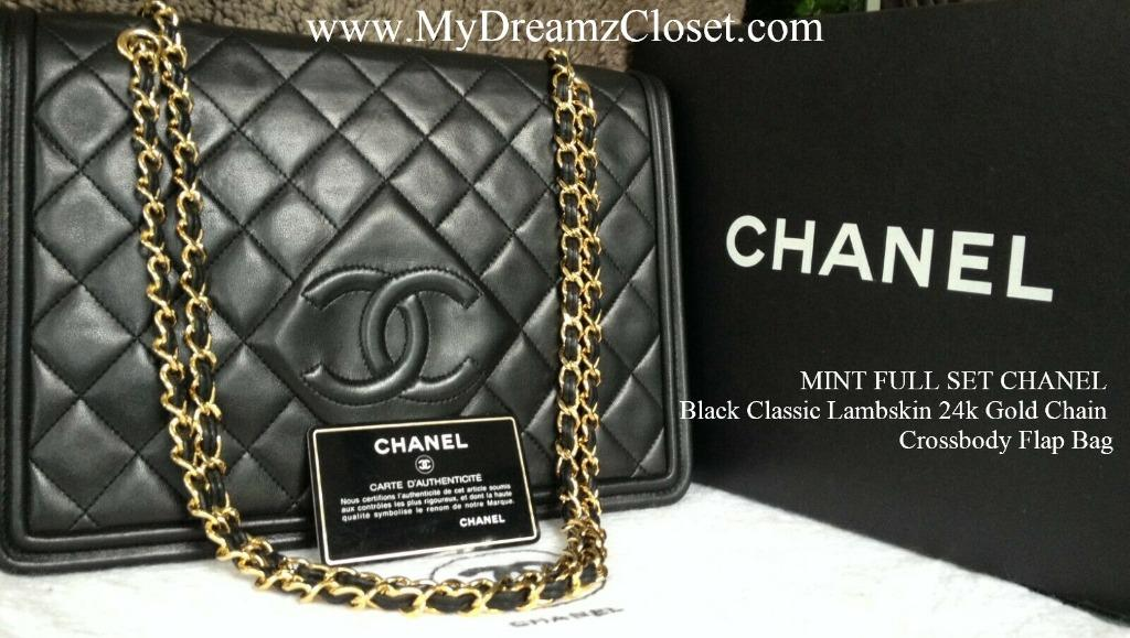 MINT FULL SET CHANEL Black Classic Lambskin 24k Gold Chain Crossbody Flap Bag