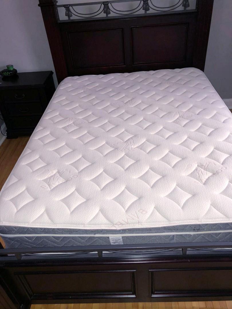 Queen Mattress + Spring box (Bamboo Pillow top) Semi firm