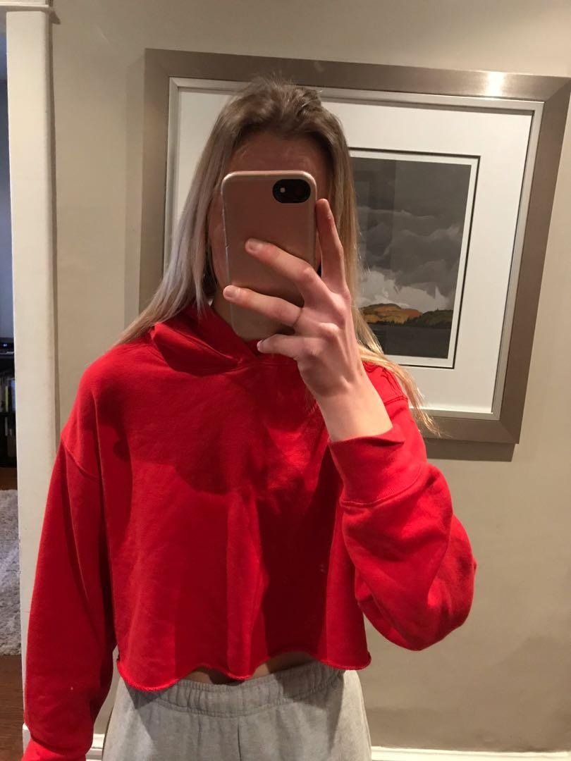 Red cropped aritzia sweater