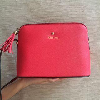 Red Sling Bag Kiss Me