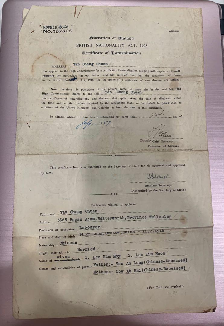 Vintage British Citizenship Certificate Malaya 1957