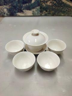 早期1990年代-個人收藏品具*各式精品,象牙白磁三件碗磁茶器組°