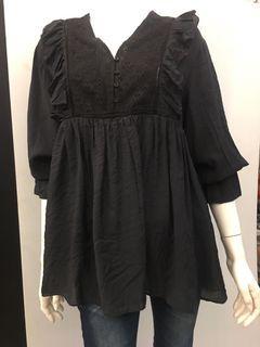 #8807黑色傘裝長袖上衣