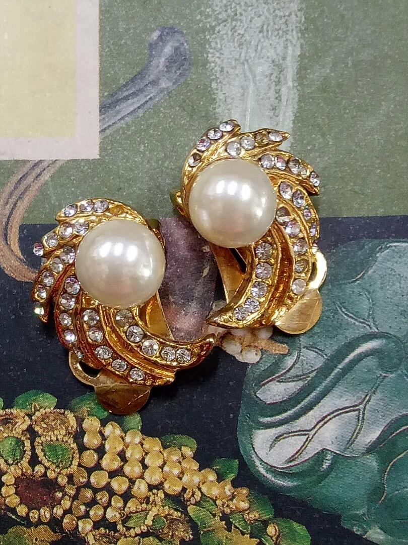 復古夾式耳環