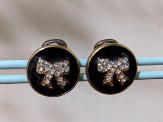 復古夾式蝴蝶結耳環