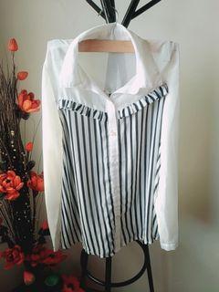 透膚條紋襯衫 吊袖