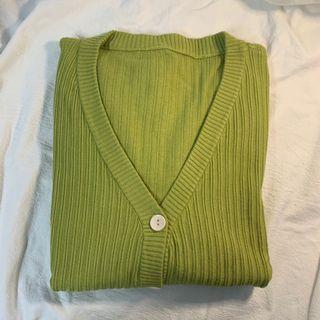 小眾設計牛油果綠針織外套 #618