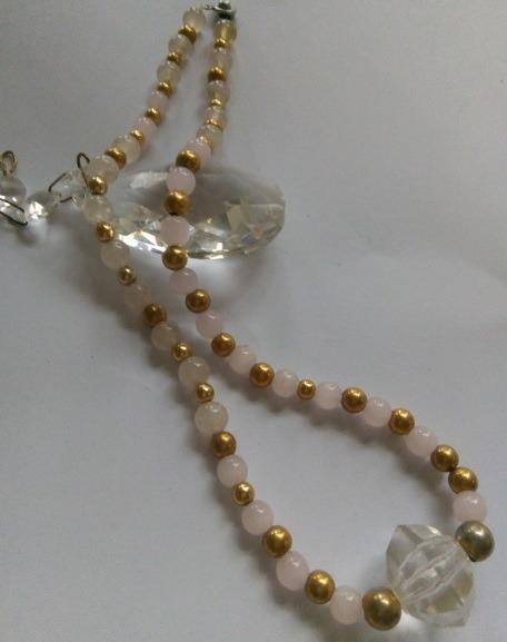 粉晶水晶項鍊 飾品項鍊 長約42公分