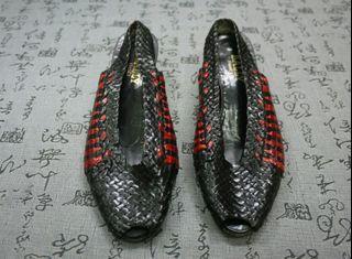 法國製 Bally 高級真皮編織粗跟涼鞋