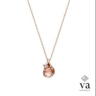 二手絕版品✨ va vendome aoyama 10k 玫瑰金 粉色玫瑰石英 項鍊 附情人節限定包裝💕