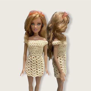 Baju Barbie Rajut Dress Krem Untuk Barbie Mattel