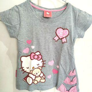 JUAL CEPAT Baju Kaos Atasan Anak Perempuan Hello Kitty Abu  Katun 100%
