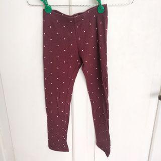 JUAL CEPAT Legging Celana Stretch Melar H&M Anak Perempuan Hati Heart Cute Cotton Organic Katun Maroon
