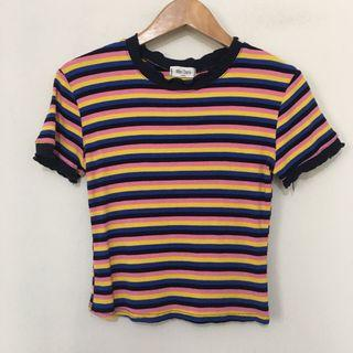 Multicolored Stripes Ribbed Top