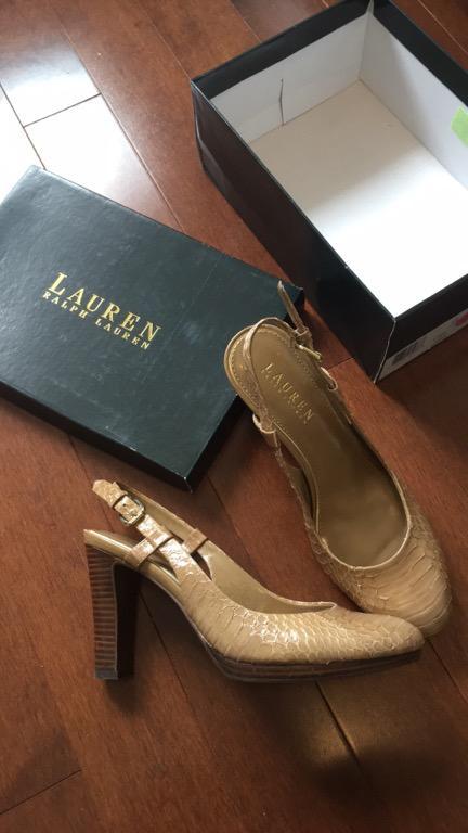 Ralph Lauren beige snakeskin slingbacks 7.5