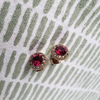 Ruby color dainty crystal stud earrings