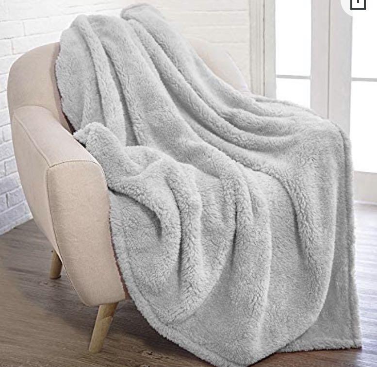 Throw Blanket Grey Plush Sherpa Cozy Couch Sofa