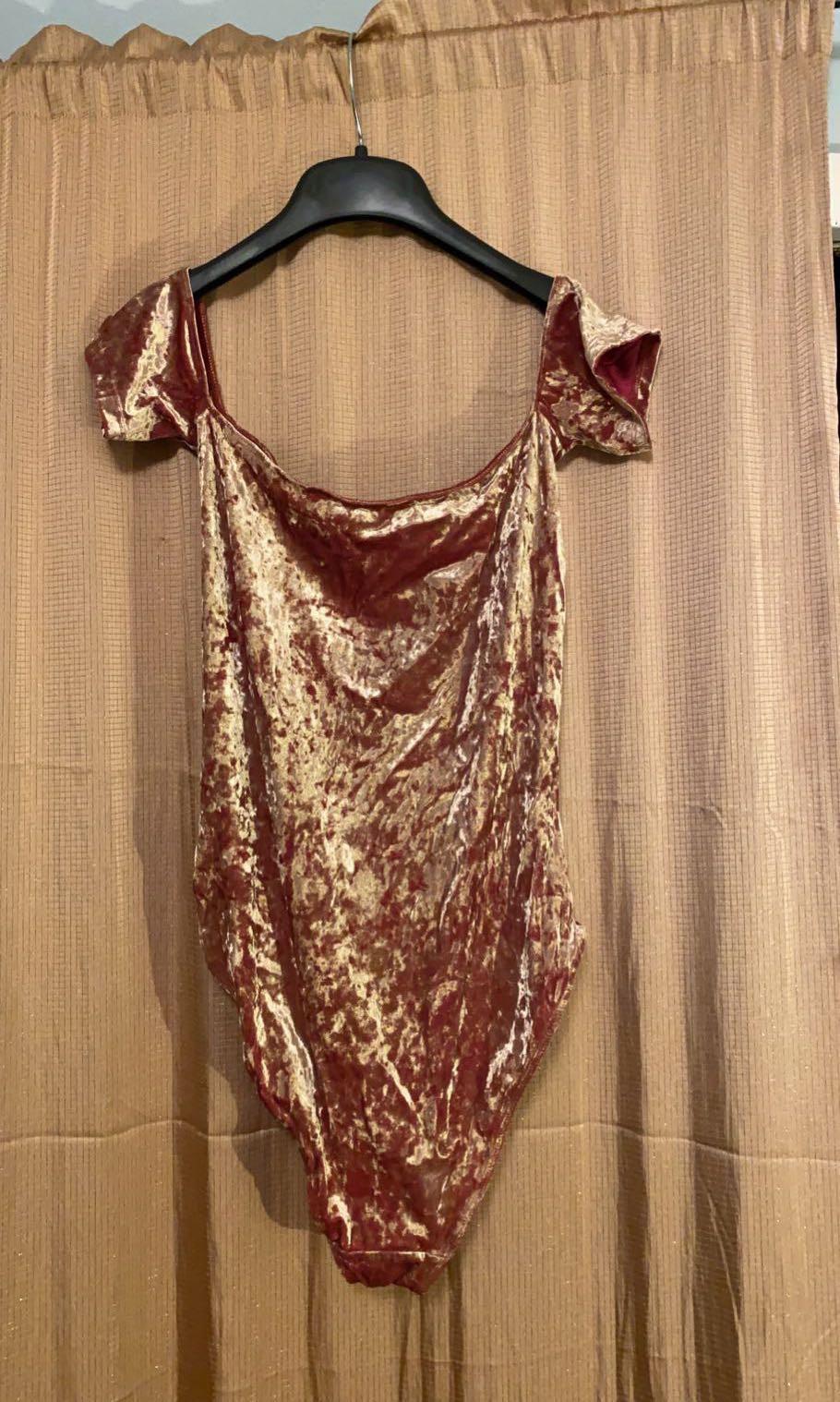 Urban Outfitters Gold Velvet Bodysuit
