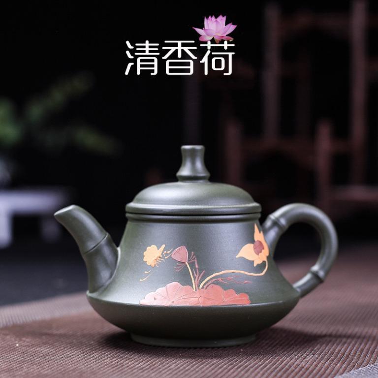 荷香玉笠--原礦民國綠泥荷香玉笠紫砂壺手工茶壺