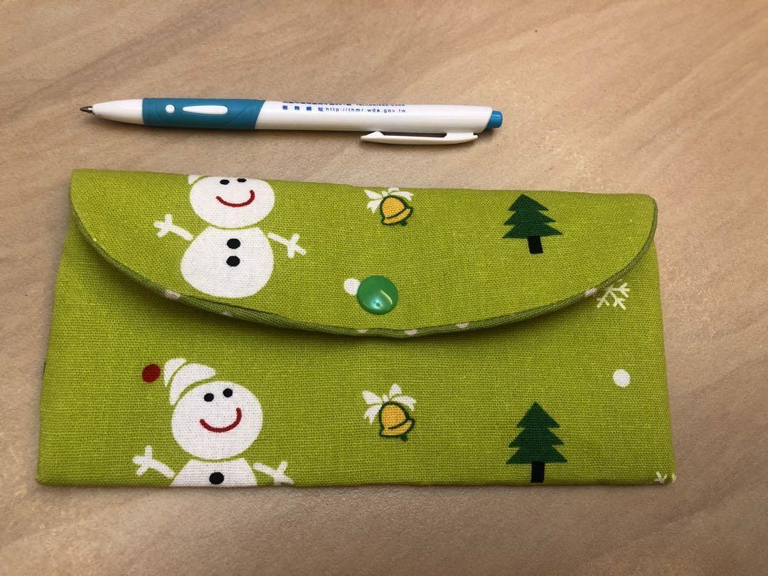 (草綠色)布製紅包袋/信封袋/存摺袋/收納袋。文青風。 手作好禮!