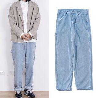 日系 復古 水洗 刷色 淺藍 工裝 畫家褲 牛仔褲 工作褲 寬褲  Jks