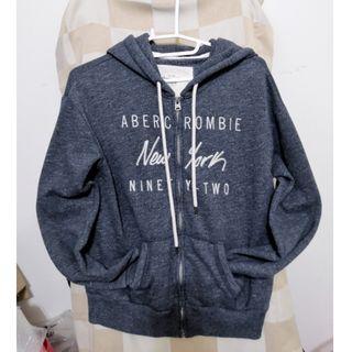 [A&F] 灰藍色刷毛連帽運動外套 XS Abercrombie and Fitch