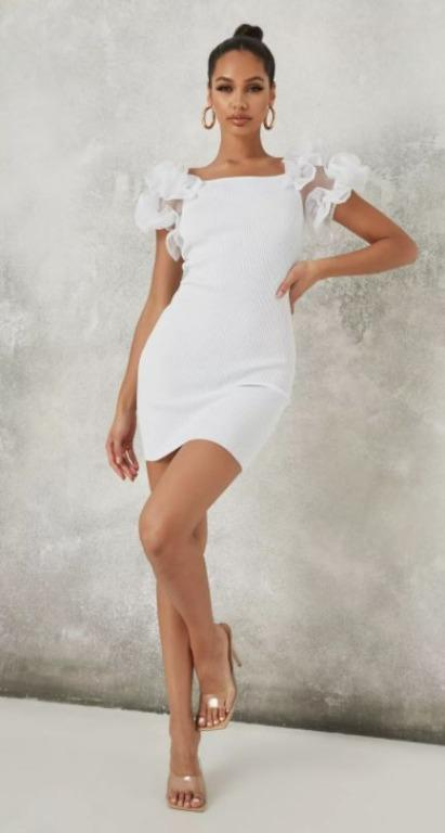 BNWT missguided white puff sleeve dress