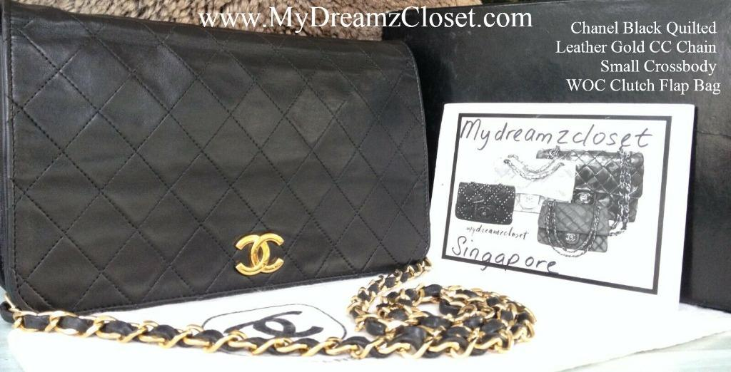 Chanel Black Quilted Leather Gold CC Chain Small Crossbody WOC Clutch Flap Bag