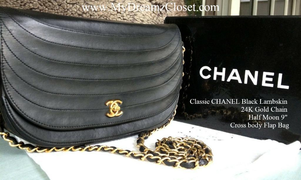 "Classic CHANEL Black Lambskin 24K Gold Chain Half Moon 9"" Cross body Flap Bag"