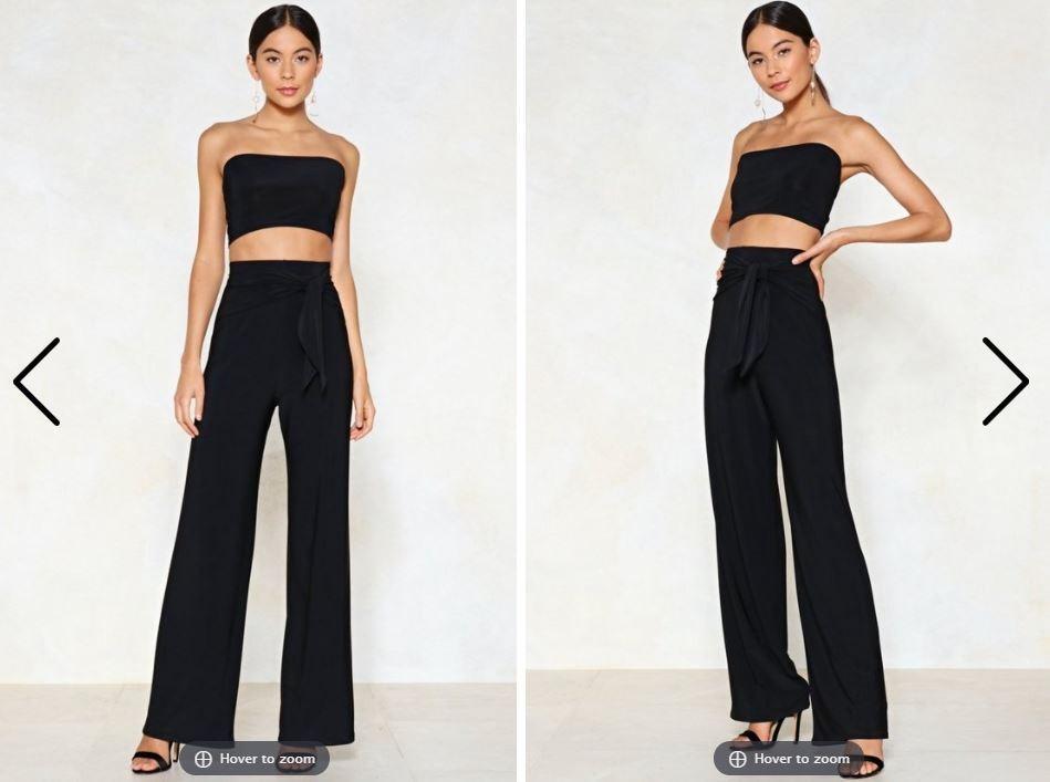 Nastygal Bandeau Top and Wide Leg Pants Set