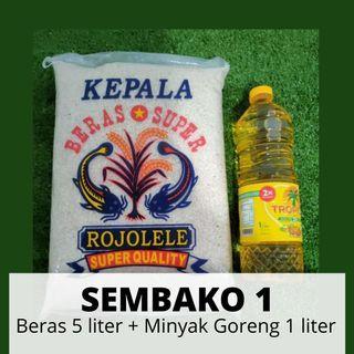Sembako 1 Beras 5 Liter + Minyak Goreng 1 Liter