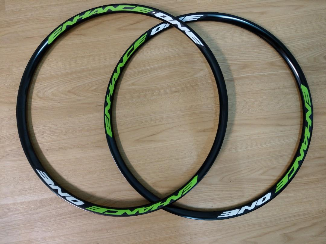 29 MTB  alloy rim front and rear for 28hole green color