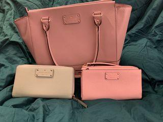 3 Genuine Leather Kate Spade Wallets and Bags Bundle