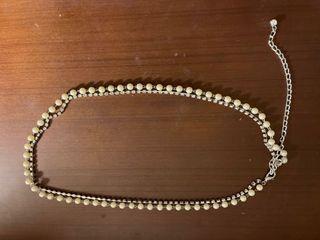 珍珠晶鑽雙層腰鏈