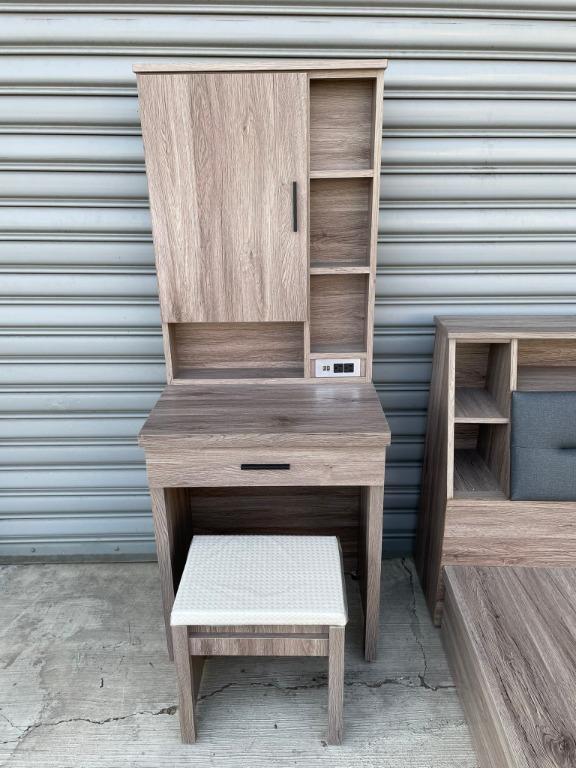 大慶二手家具 新品(灰橡木/原切色)一抽化妝台(含椅)可充電/化妝桌/梳妝桌/梳妝檯