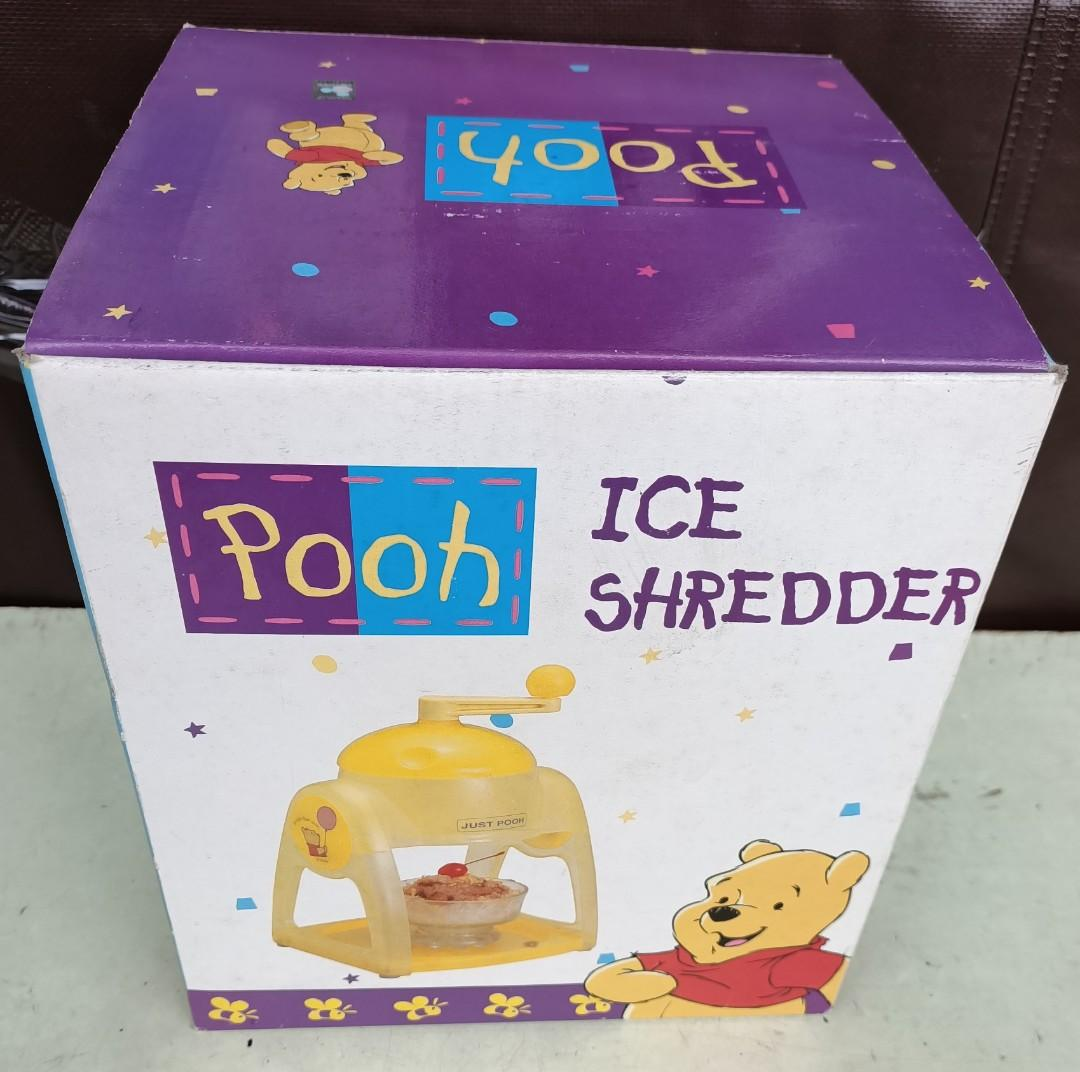 黃色可愛小熊維尼手動式挫冰機 冰沙機 製冰機 親子同樂 手動DIY雪花刨冰機