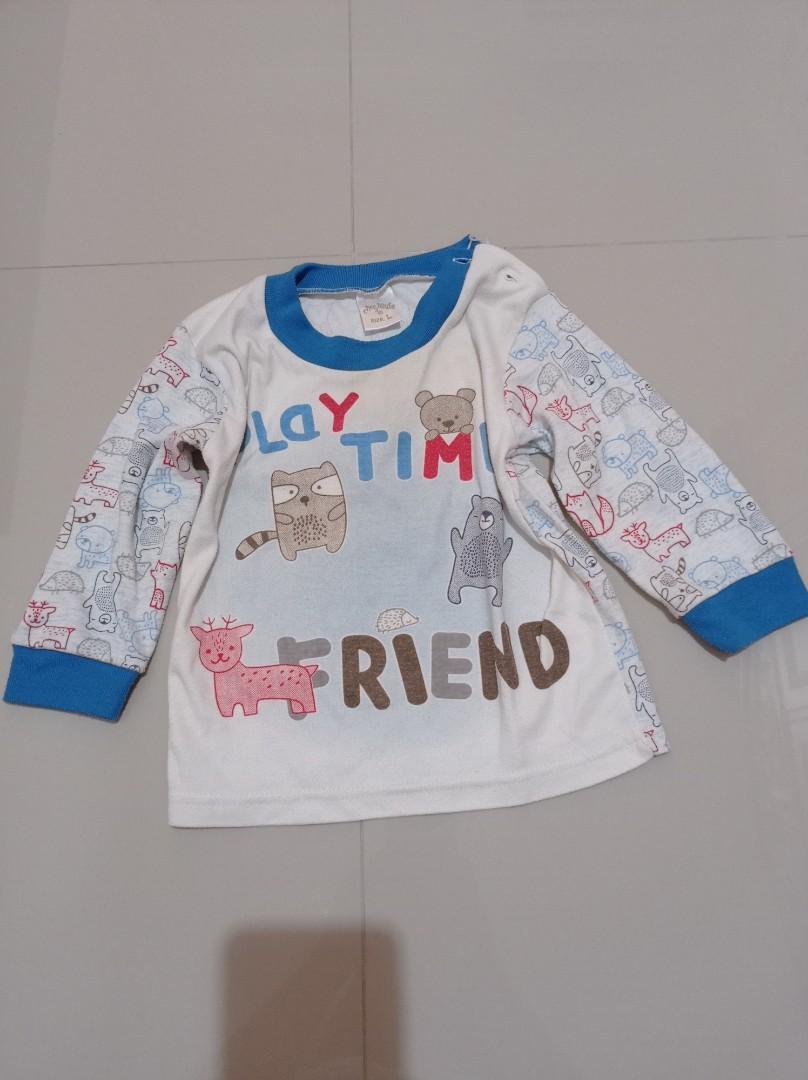 Baju tidur tulisan playtime biru