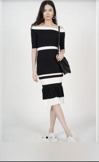 BNWT MDS Contrast Ruffle dress