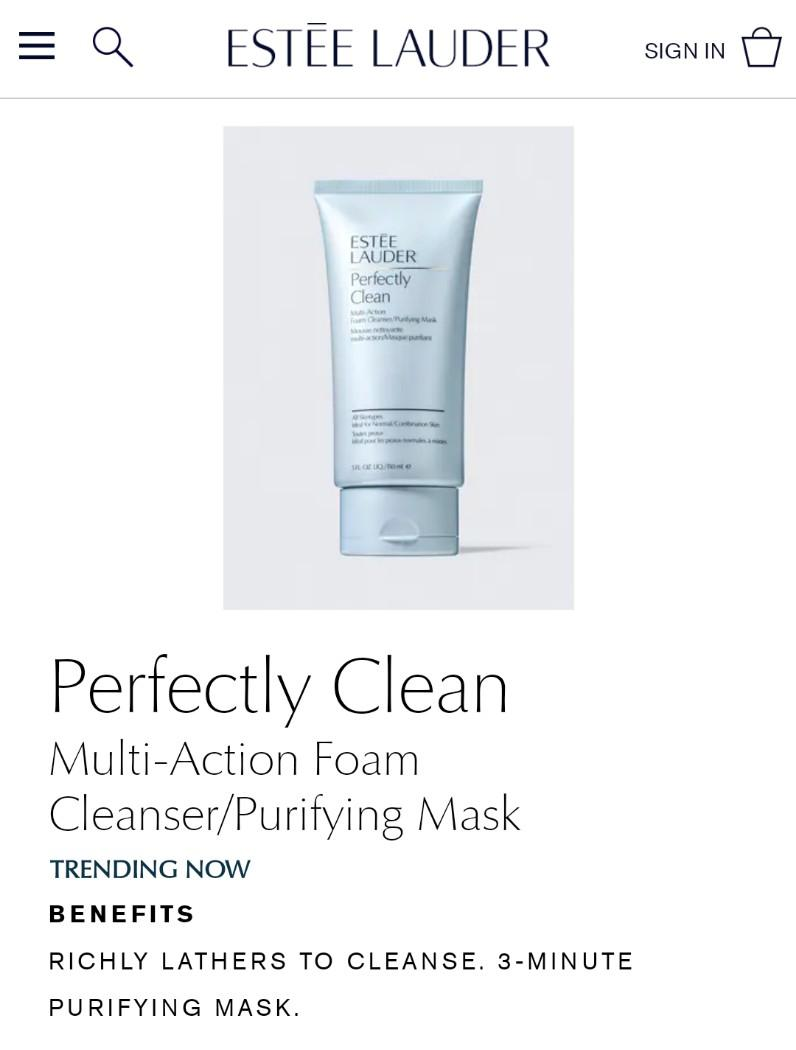 🌸Estee Lauder Perfectly Clean Multi-action Foam Cleanser/Purifying Mask