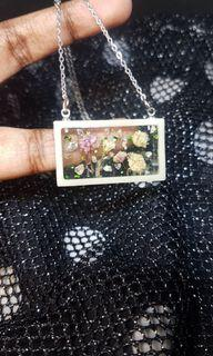 Handmade Epoxy Resin Pendant with Dried Flowers; Silver Plated Hypoallergenic Necklace