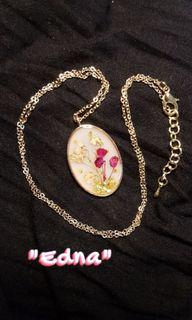 Handmade Epoxy Resin Pendant with Dried Flowers; Gold Plated Hypoallergenic Necklace