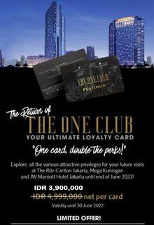 Member The One Club. By Marriot Group Hotel