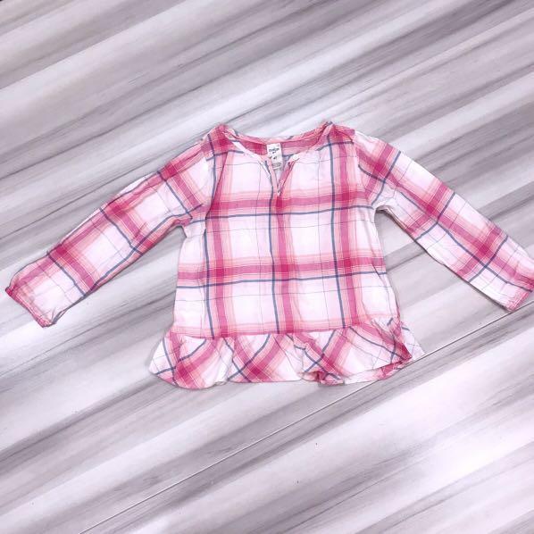 OSHKOSH  女童格紋下擺荷葉長袖上衣